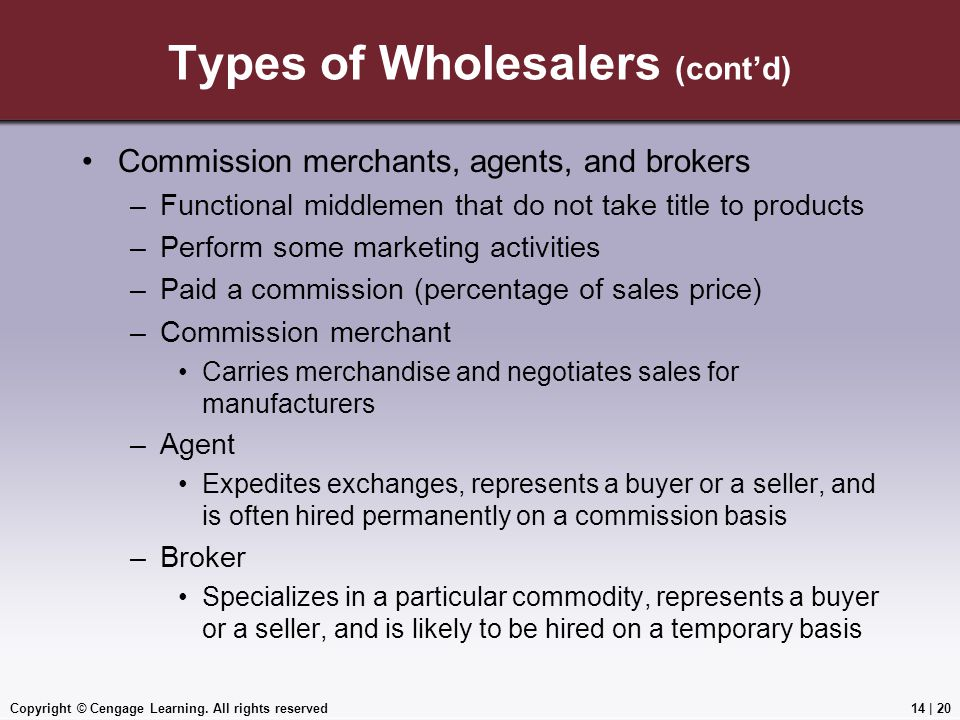 Types of Wholesalers (cont'd)