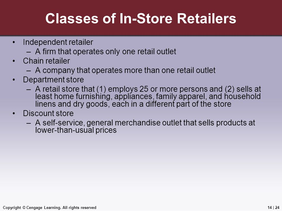 Classes of In-Store Retailers