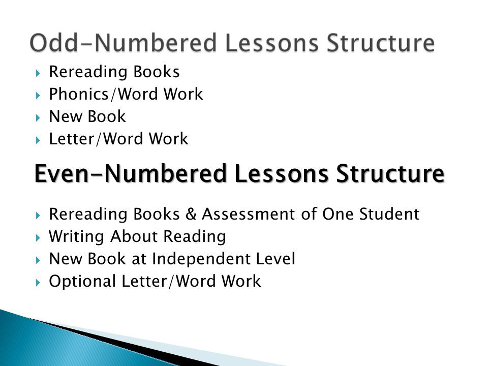 Even-Numbered Lessons Structure