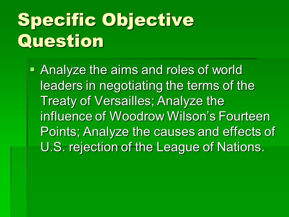 Specific Objective Question
