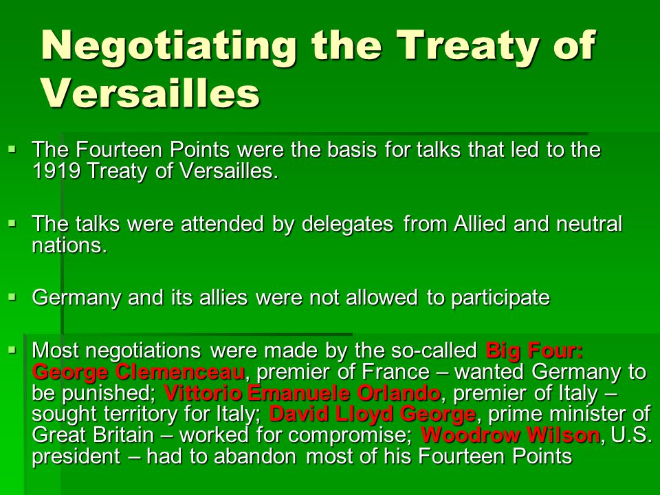 Negotiating the Treaty of Versailles