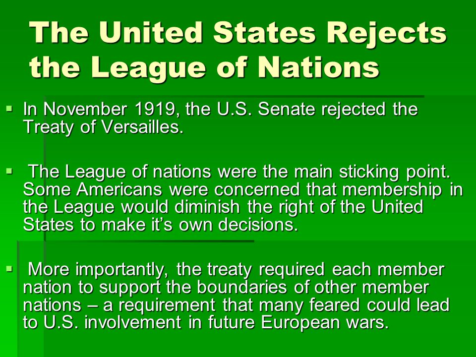 The United States Rejects the League of Nations