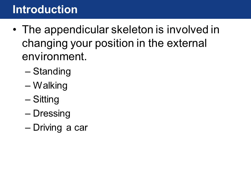 Introduction The appendicular skeleton is involved in changing your position in the external environment.