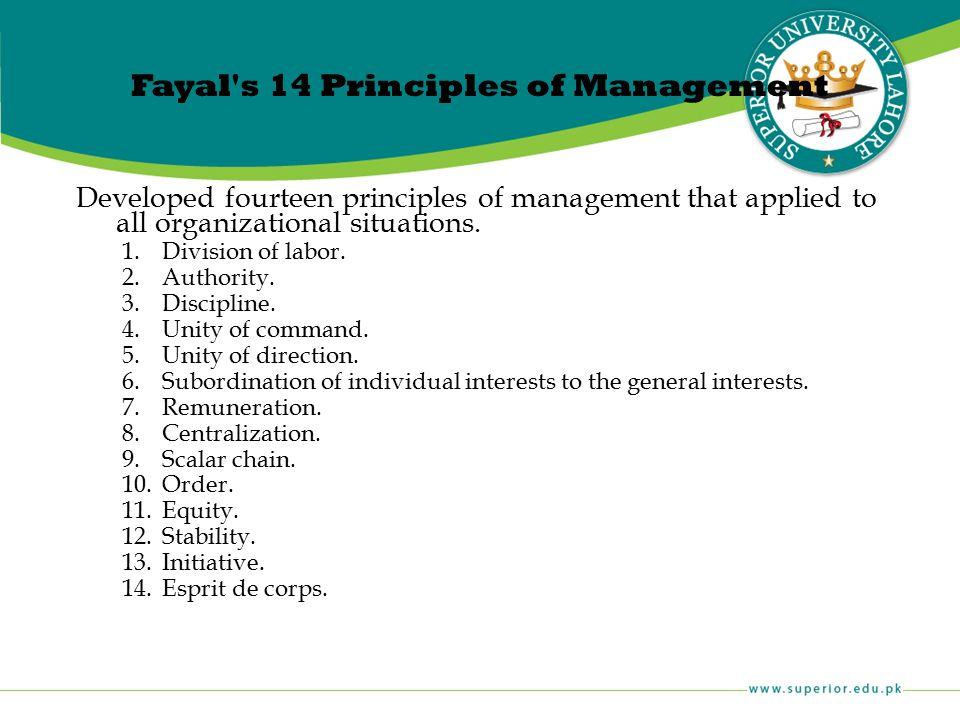 Fayal s 14 Principles of Management