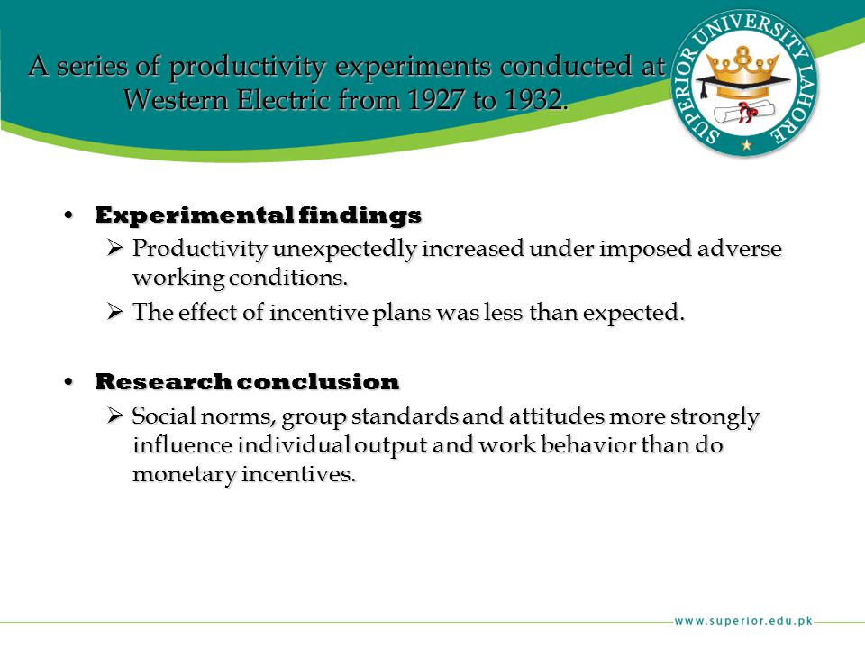 A series of productivity experiments conducted at Western Electric from 1927 to 1932.