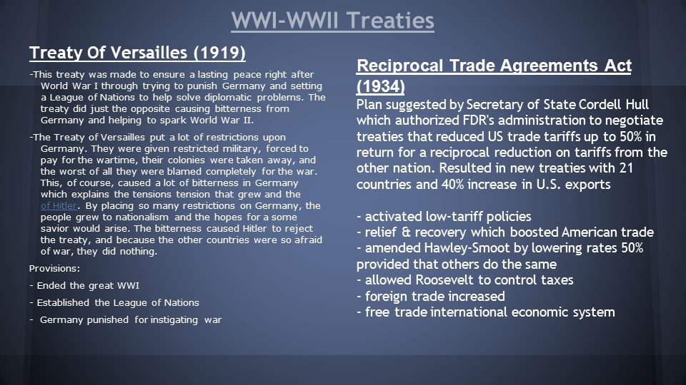 treaty of versailles from wwi to wwii essay How the treaty of versailles contributed to hitler's rise search the site go history & culture european history  belief that marxists and jews had been behind the failure in world war i and had to be removed to prevent failure in world war ii  the treaty of versailles ended wwi.