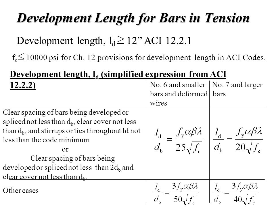 Chapter-7 Bond Development Length & Splices - ppt video online download