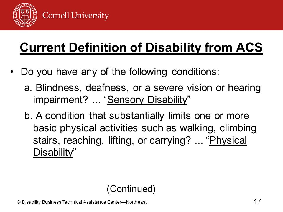 Current Definition of Disability from ACS