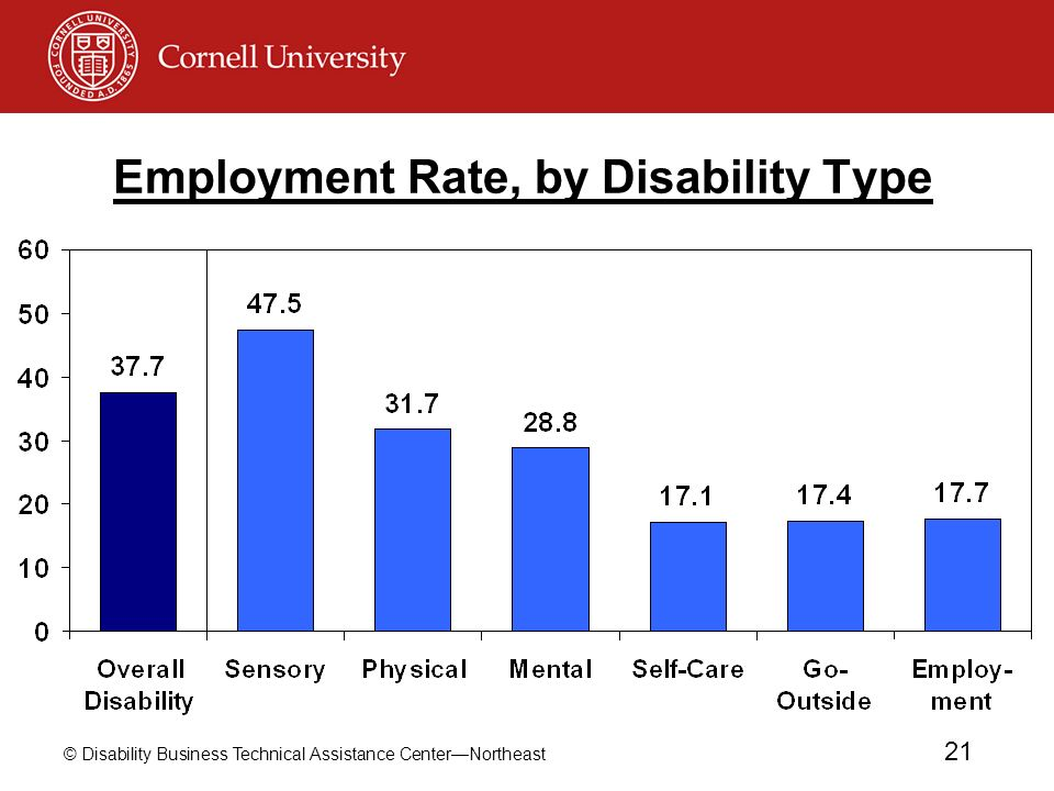 Employment Rate, by Disability Type