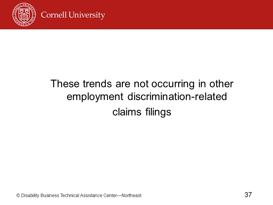 These trends are not occurring in other employment discrimination-related