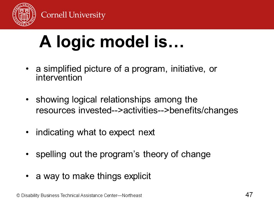 A logic model is… a simplified picture of a program, initiative, or intervention. showing logical relationships among the.