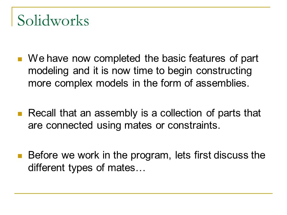 Solidworks: Lesson 4 – Assembly Basics and Toolbox - ppt download