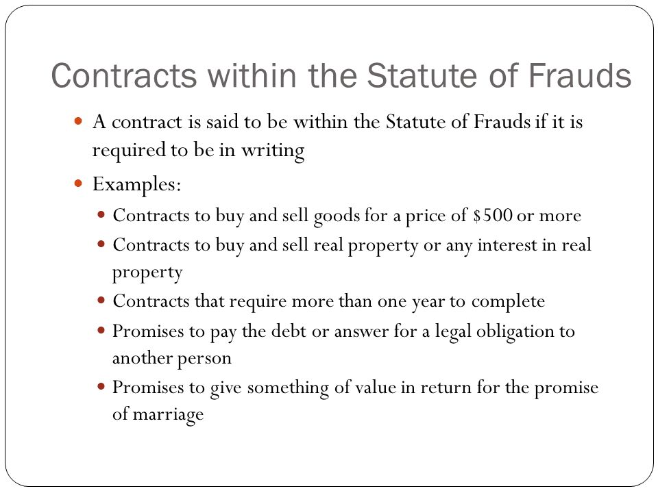 Legal purpose and proper form ppt video online download contracts within the statute of frauds thecheapjerseys Images