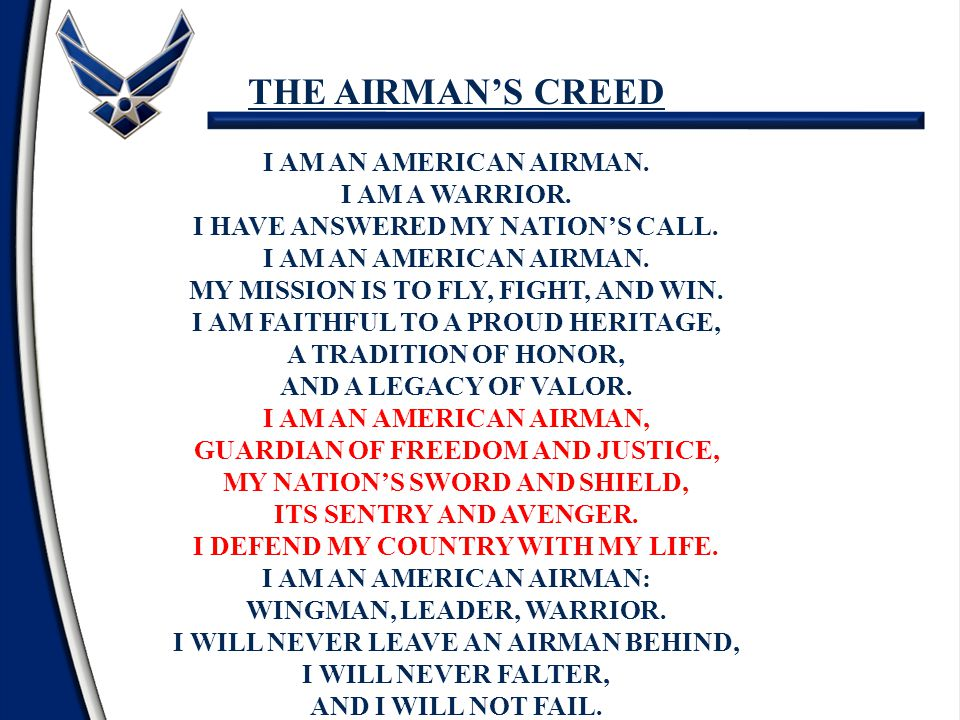 The airmans creed and code of conduct ppt video online download the airmans creed i am an american airman i am a warrior thecheapjerseys Images