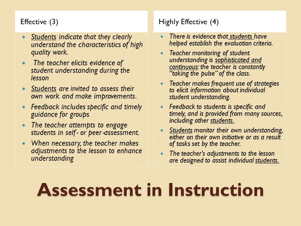 Assessment in Instruction