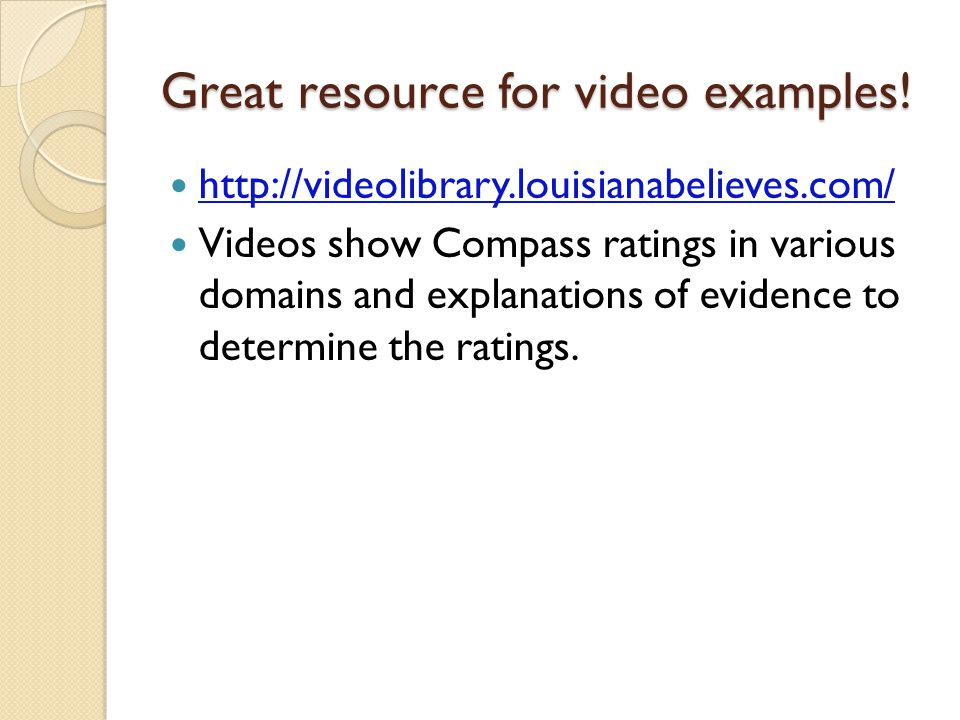 Great resource for video examples!