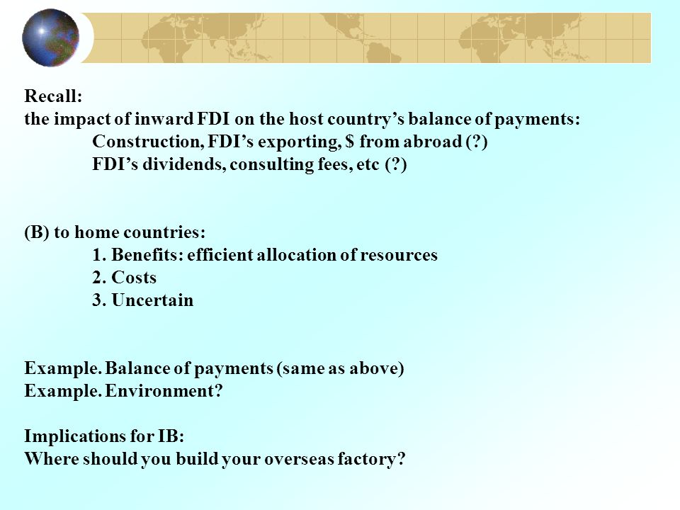 what are the benefits of fdi to home countries