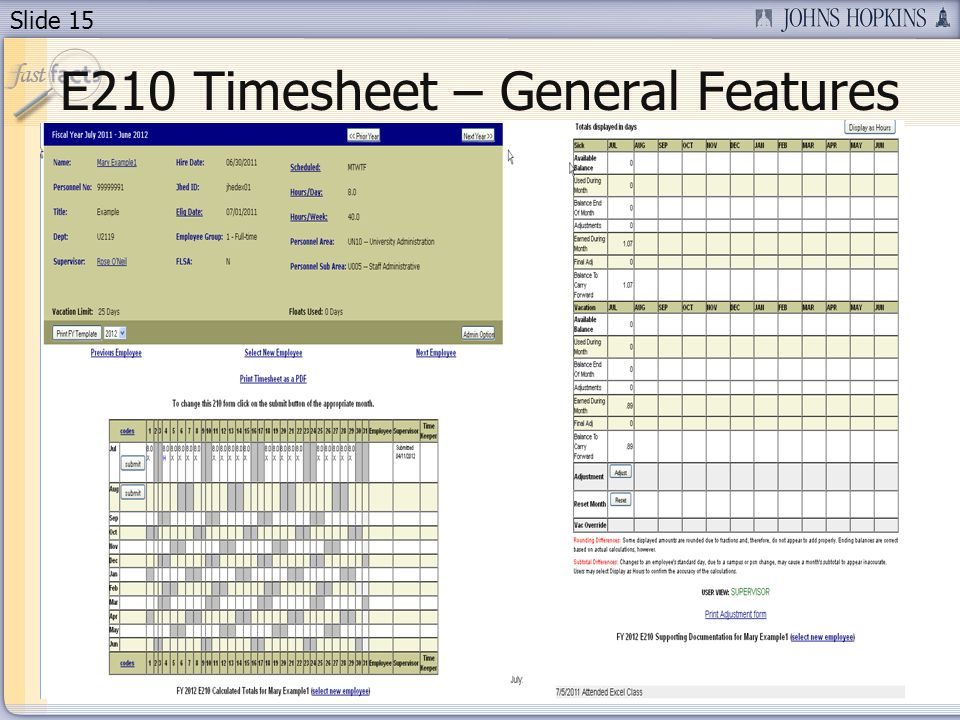 E210 Timesheet – General Features