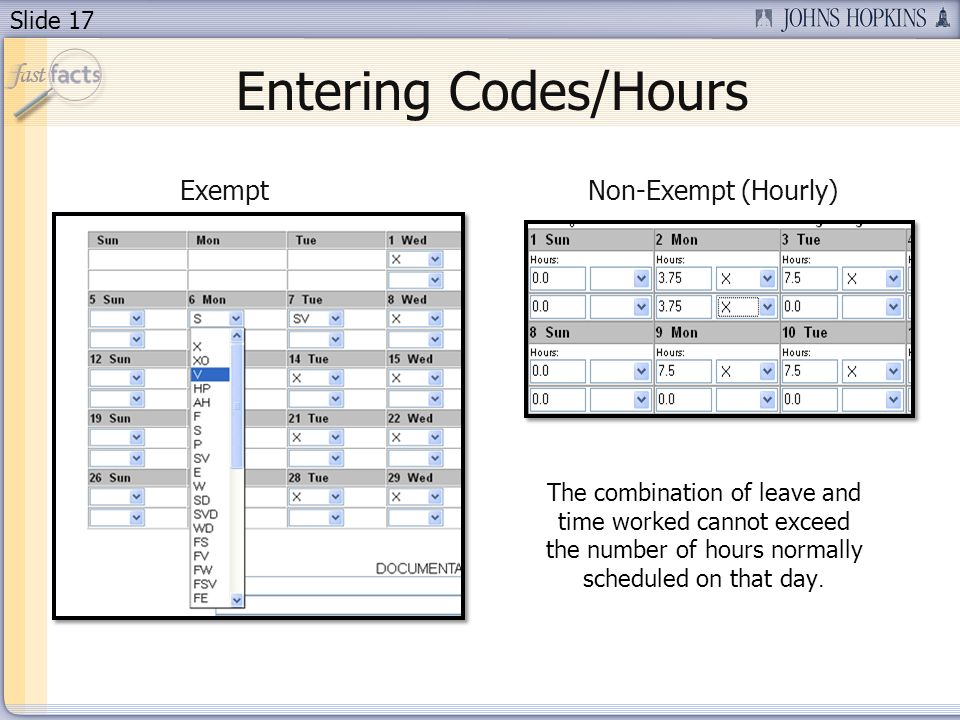 Entering Codes/Hours Exempt Non-Exempt (Hourly)
