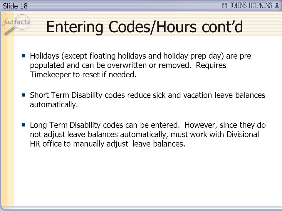 Entering Codes/Hours cont'd