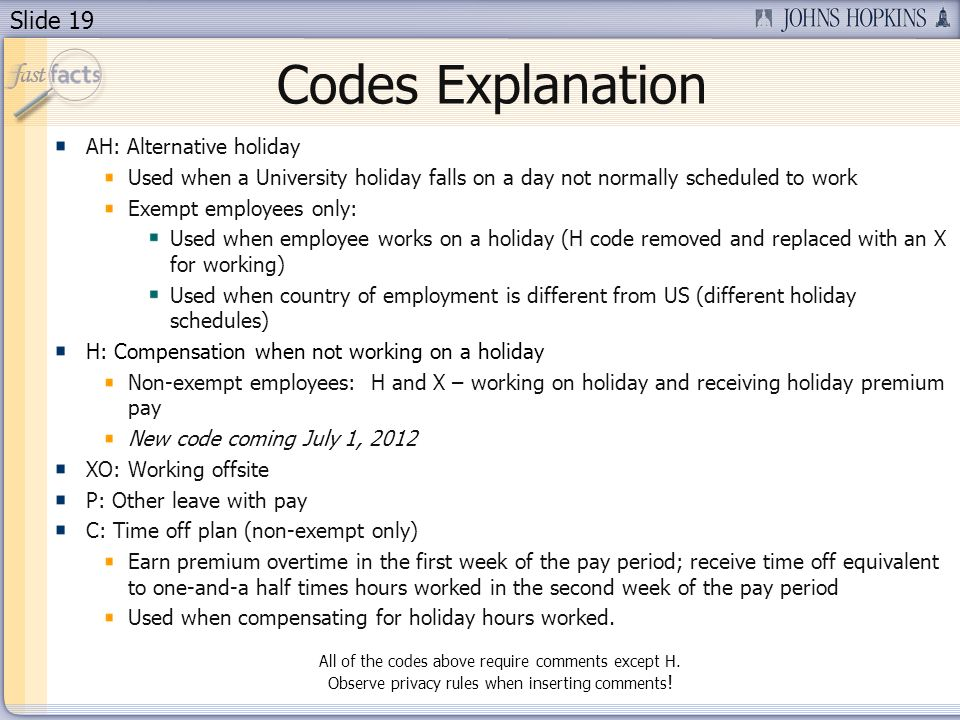 Codes Explanation AH: Alternative holiday