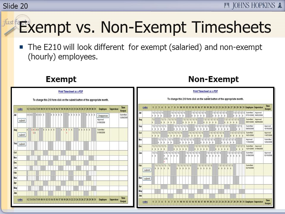 Exempt vs. Non-Exempt Timesheets