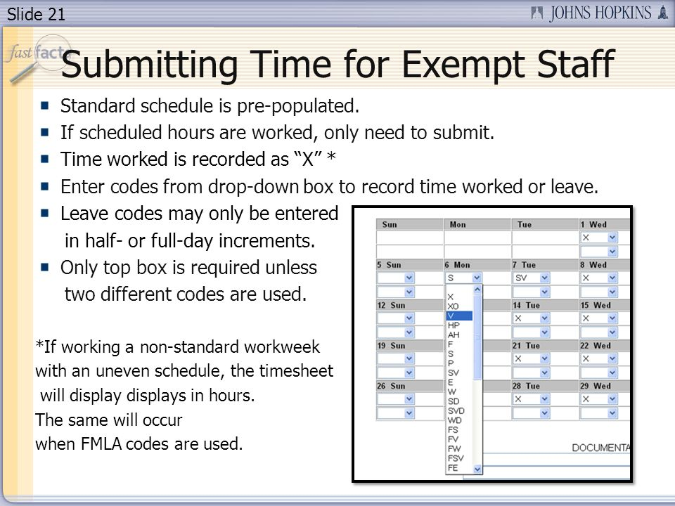 Submitting Time for Exempt Staff