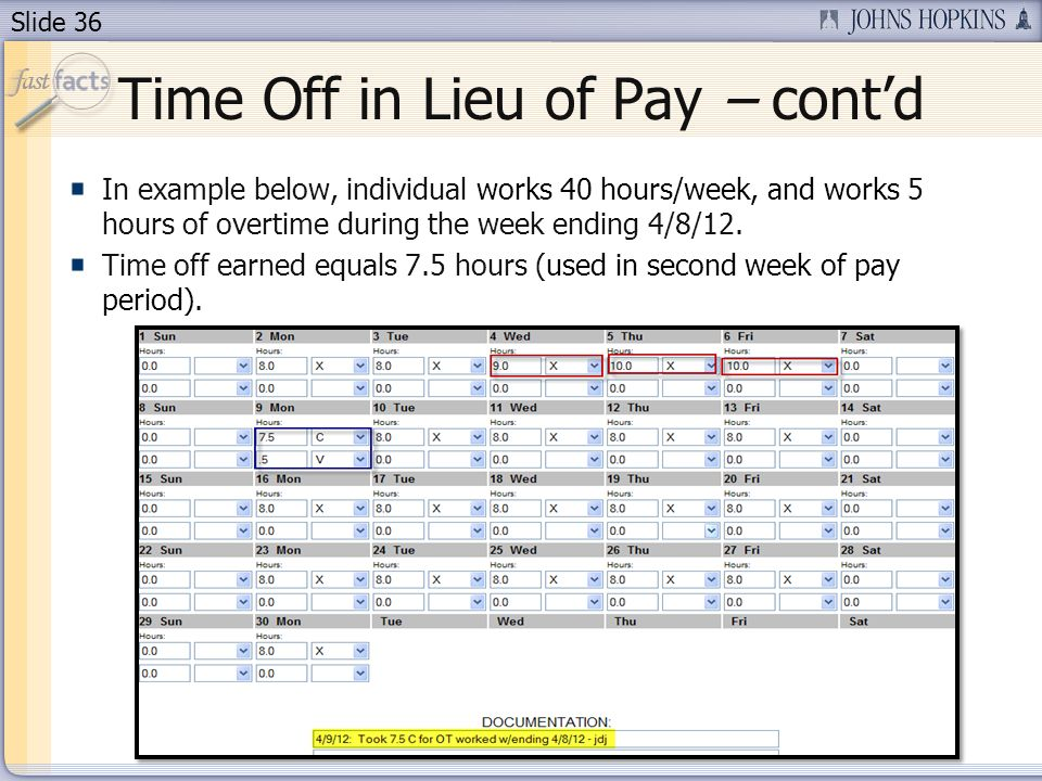 Time Off in Lieu of Pay – cont'd