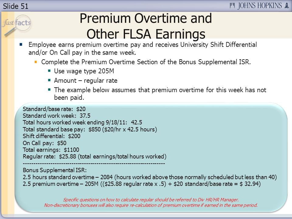 Premium Overtime and Other FLSA Earnings