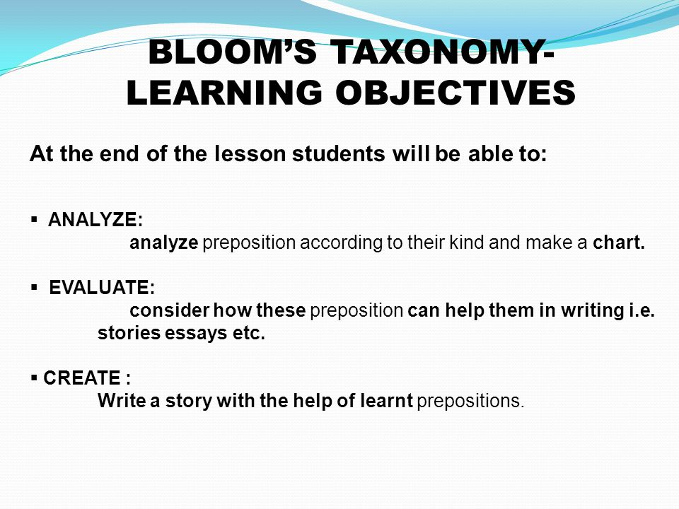 BLOOM'S TAXONOMY- LEARNING OBJECTIVES