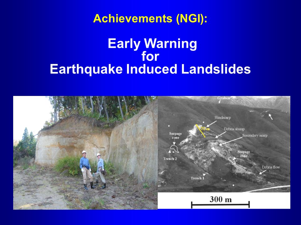 Achievements (NGI): Early Warning for Earthquake Induced Landslides