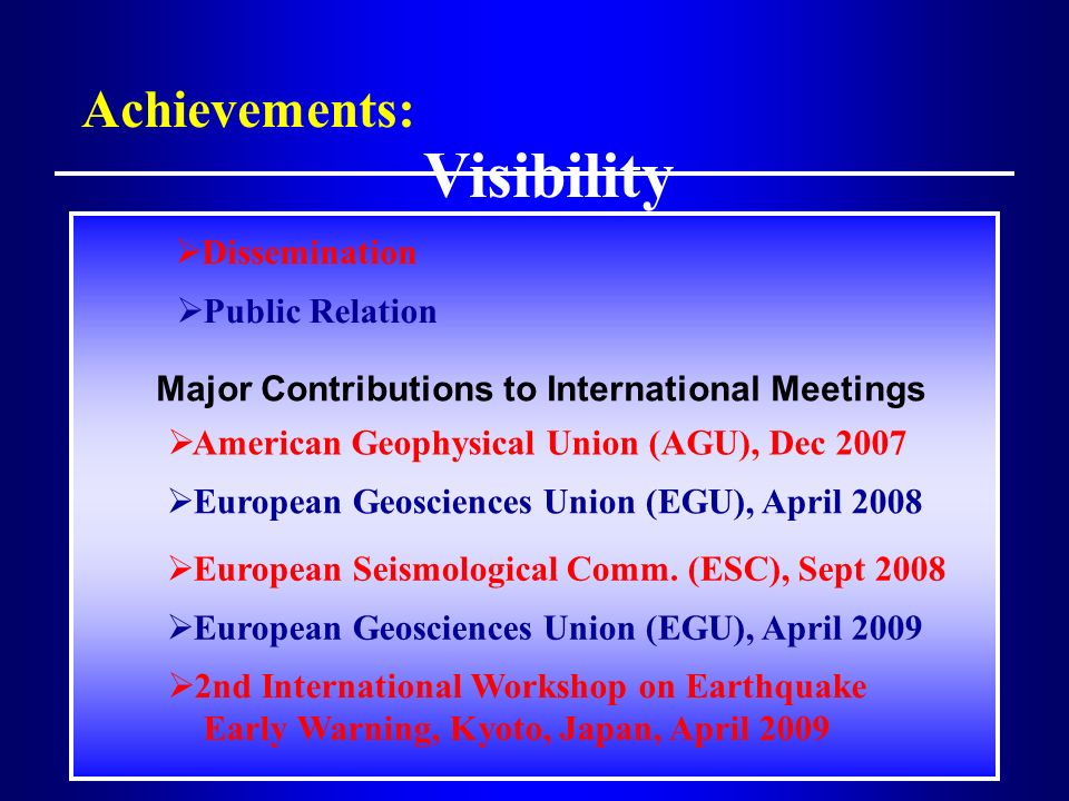 Major Contributions to International Meetings