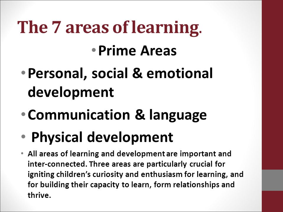 The 7 areas of learning. Prime Areas