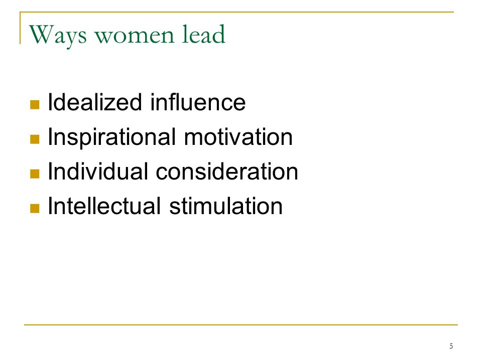 Ways women lead Idealized influence Inspirational motivation