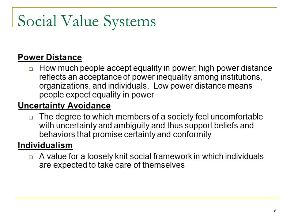 Social Value Systems Power Distance Uncertainty Avoidance