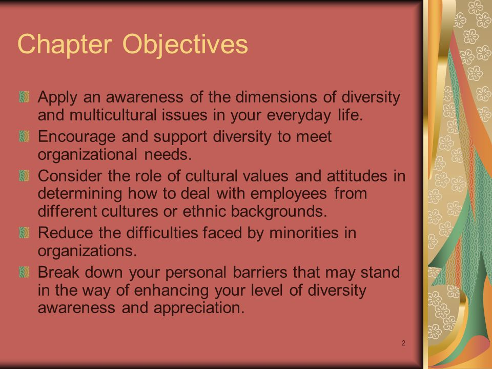 Chapter Objectives Apply an awareness of the dimensions of diversity and multicultural issues in your everyday life.