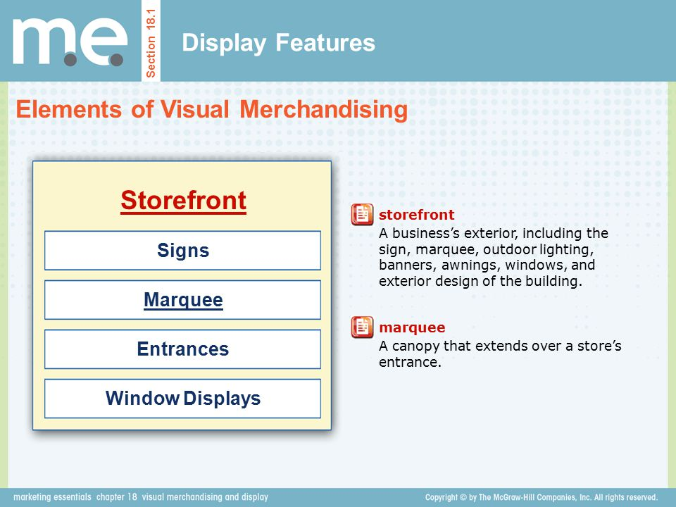 Storefront Display Features Elements of Visual Merchandising Signs
