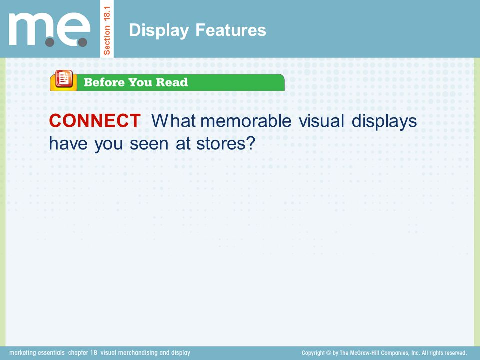CONNECT What memorable visual displays have you seen at stores