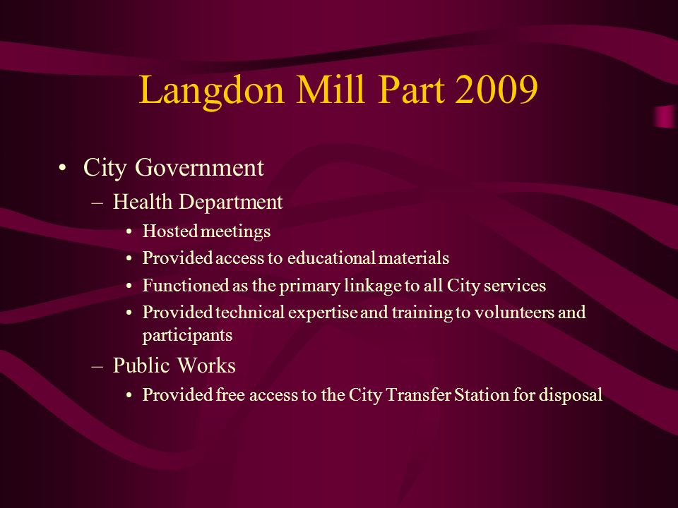 Langdon Mill Part 2009 City Government Health Department Public Works