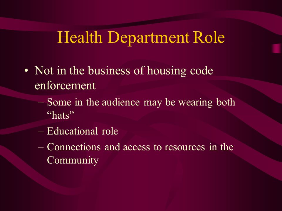 Health Department Role