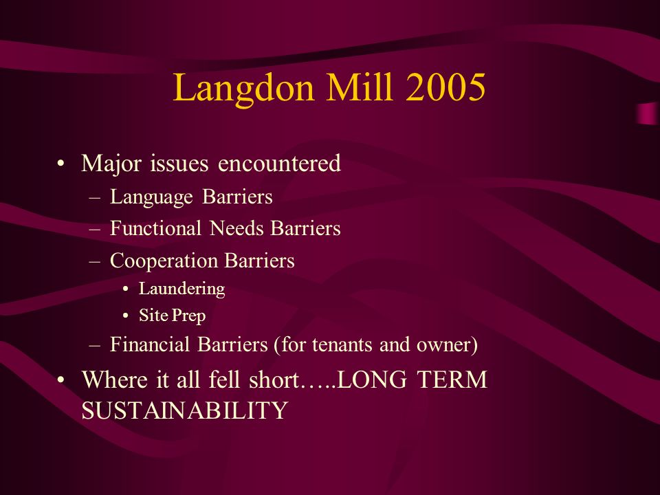 Langdon Mill 2005 Major issues encountered