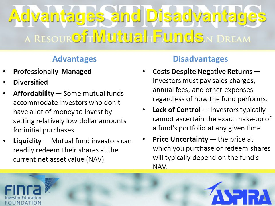 advantages and disadvantages of mutual funds - Ronni