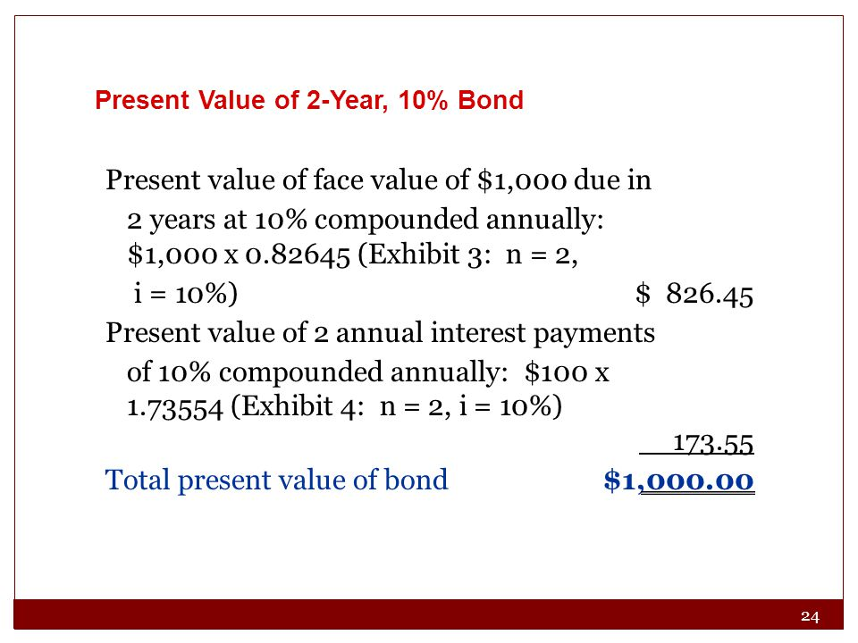 Present value of face value of $1,000 due in