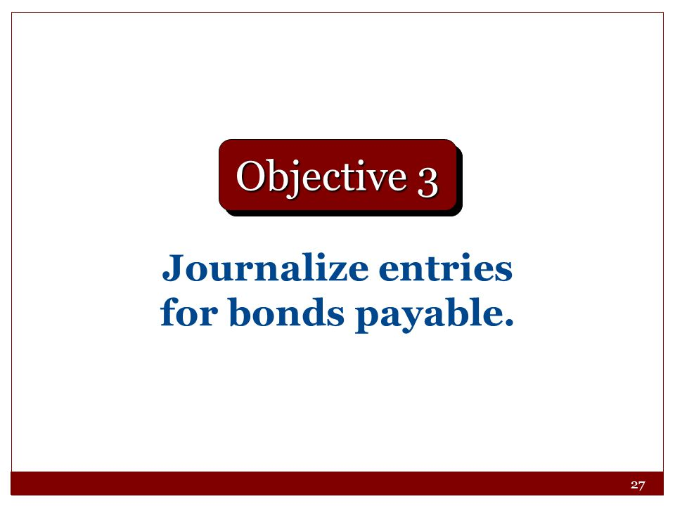 Journalize entries for bonds payable.