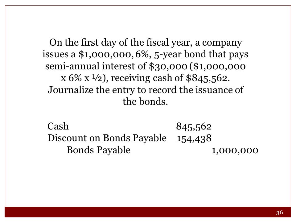 On the first day of the fiscal year, a company issues a $1,000,000, 6%, 5-year bond that pays semi-annual interest of $30,000 ($1,000,000 x 6% x ½), receiving cash of $845,562. Journalize the entry to record the issuance of the bonds.