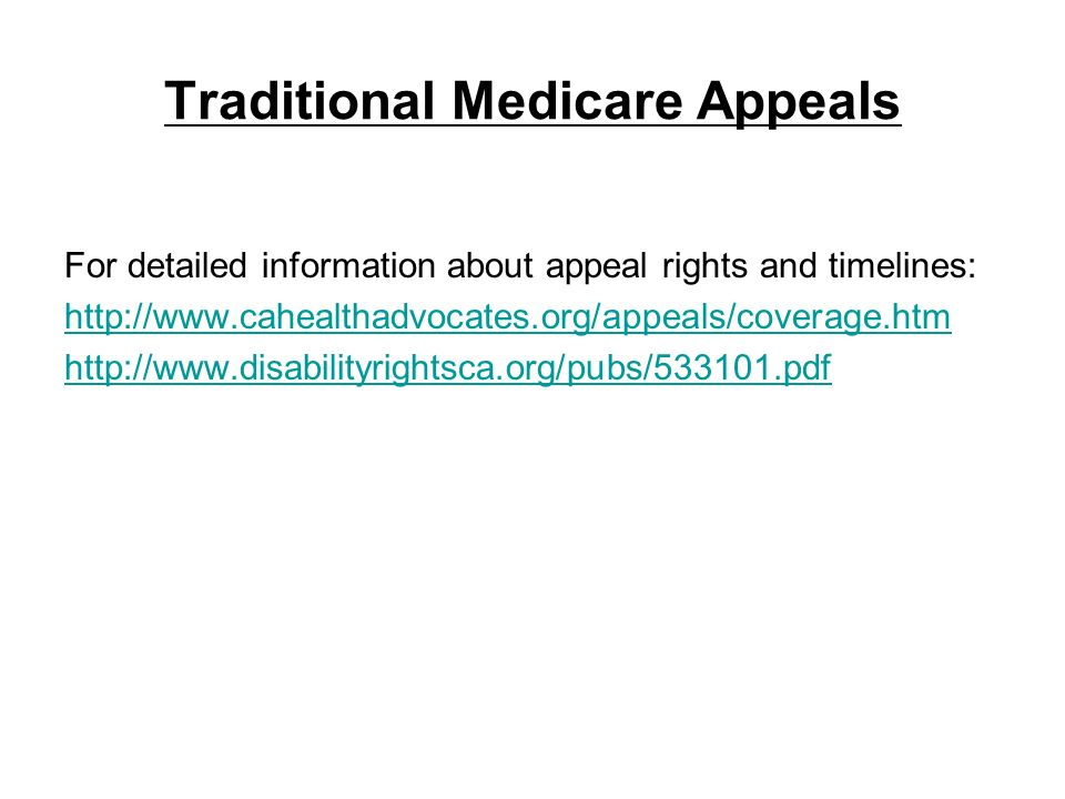 Traditional Medicare Appeals