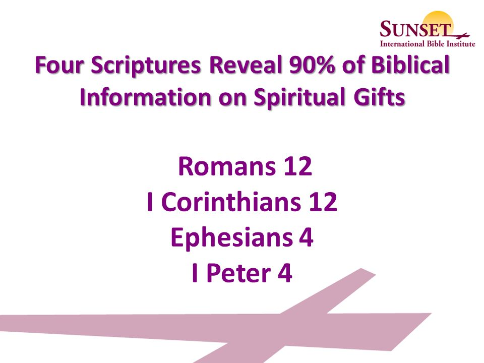 Spiritual gifts scripture romans gift ideas 23 four scriptures reveal 90 of biblical information on spiritual gifts romans 12 i corinthians 12 ephesians 4 i peter 4 spiritual gifts seminar ppt negle Gallery