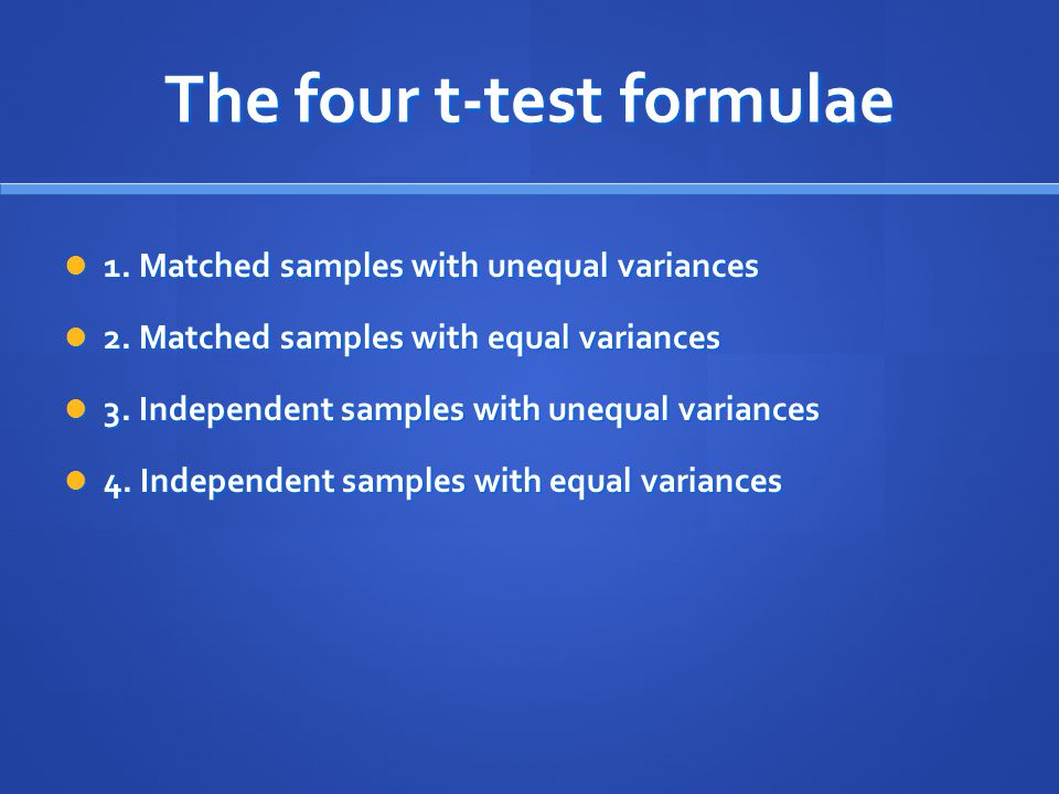 The four t-test formulae