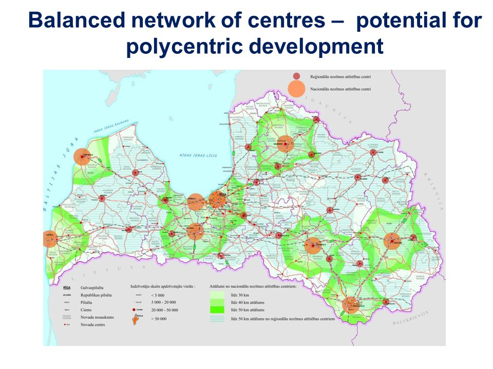 Balanced network of centres – potential for polycentric development