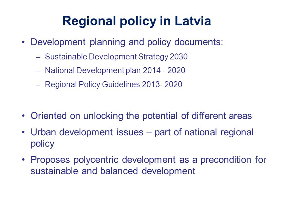 Regional policy in Latvia